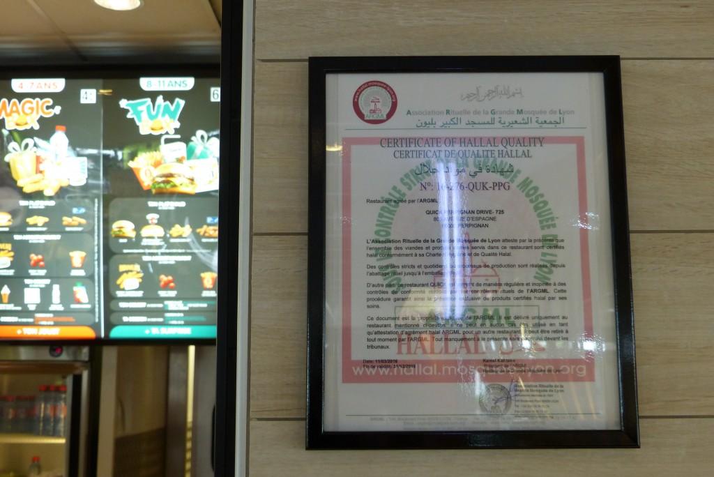 Certificat halal Quick Perpignan